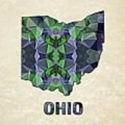 Polygon Mosaic Parchment Map Ohio Art Print