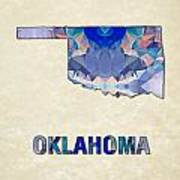 Polygon Mosaic Parchment Map Oklahoma Art Print