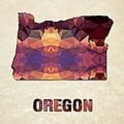 Polygon Mosaic Parchment Map Oregon Art Print