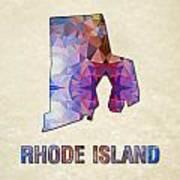 Polygon Mosaic Parchment Map Rhode Island Art Print
