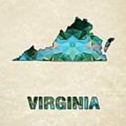 Polygon Mosaic Parchment Map Virginia Art Print