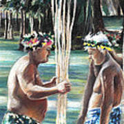 Polynesian Men With Spears Art Print