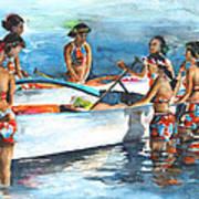 Polynesian Vahines Around Canoe Art Print