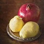 Pomegranate And Yellow Pear Still Life Art Print