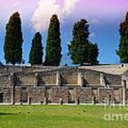 Pompeii Walls And Trees Art Print