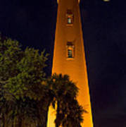 Ponce Inlet Lighthouse And Moon Art Print