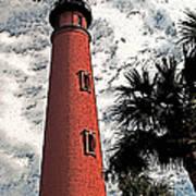 Ponce Lighthouse Artistic Brush Art Print