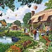 Pond Cottage Art Print