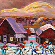 Pond Hockey Cozy Winter Scene Art Print