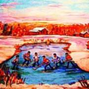 Pond Hockey Game By Montreal Hockey Artist Carole Spandau Art Print