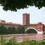 Pont Scaligero On Adige River Art Print