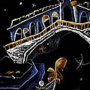 Ponte Di Rialto - Grand Canal Venise Gondola Illustration Art Print