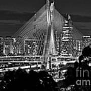 Sao Paulo - Ponte Octavio Frias De Oliveira By Night In Black And White Art Print