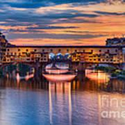Ponte Vecchio At Sunset Art Print