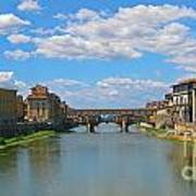 Ponte Vecchio Over The Arno River At Florence Italy Art Print