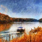 Pontoon Boat Photo Art 02 Art Print