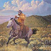 Pony Express Rider At Look Out Pass Art Print