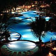 Pool At Night Art Print