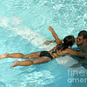 Pool Couple 9717b Art Print