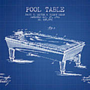 Pool Table Patent From 1901 - Blueprint Art Print