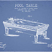 Pool Table Patent From 1901 - Light Blue Art Print
