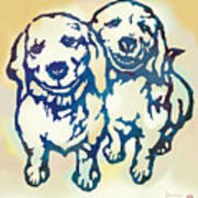 Pop Art Etching Poster - Dog - 10 Art Print