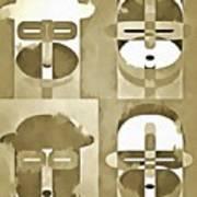 Pop Art People Monochromatic Four Art Print