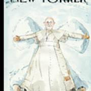 Pope Francis Makes A Snow Angel Art Print