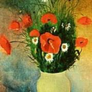 Poppies And Daisies Art Print by Odilon Redon