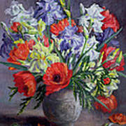 Poppies And Irises Print by Anthea Durose