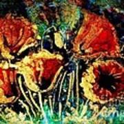 Poppies In Gold Art Print by Zaira Dzhaubaeva