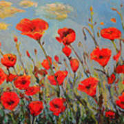 Poppies In The Wind Art Print