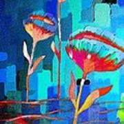 Poppies On Blue 1 Art Print