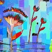 Poppies On Blue 3 Art Print
