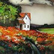 Poppies On The Old Homestead Art Print by Kendra Sorum