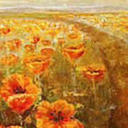 Poppy Field  Triptic Middle Art Print