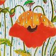 Poppy With Piper  In The Rain Art Print