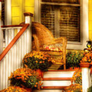 Porch - In The Light Of Autumn Art Print
