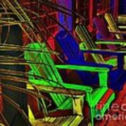 Neon Porch Perches Art Print