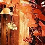 Porch Post Berries Rust Art Print
