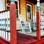 Porch With Red White And Blue Railing Print by Susan Savad