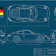 Porsche 911 Type 997 Coupe Art Print By Douglas Switzer