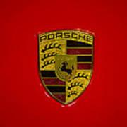 Porsche Emblem Red Hood Art Print