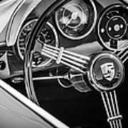 Porsche Steering Wheel Emblem -2043bw Art Print