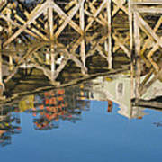 Port Clyde Maine Lobster Traps Reflecting In Water Art Print