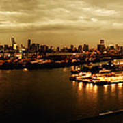 Port Miami Golden Photopaint Art Print