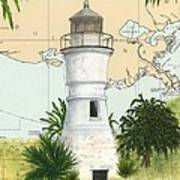 Port Pontchartrain Lighthouse La Chart Map Art Art Print