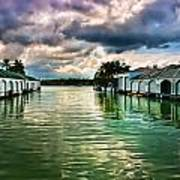 Storm Clouds Over  Port Royal Boathouses In Naples Art Print
