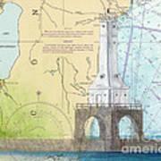 Port Washington Lighthouse Wi Nautical Chart Map Art Art Print