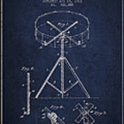 Portable Drum Patent Drawing From 1903 - Blue Art Print